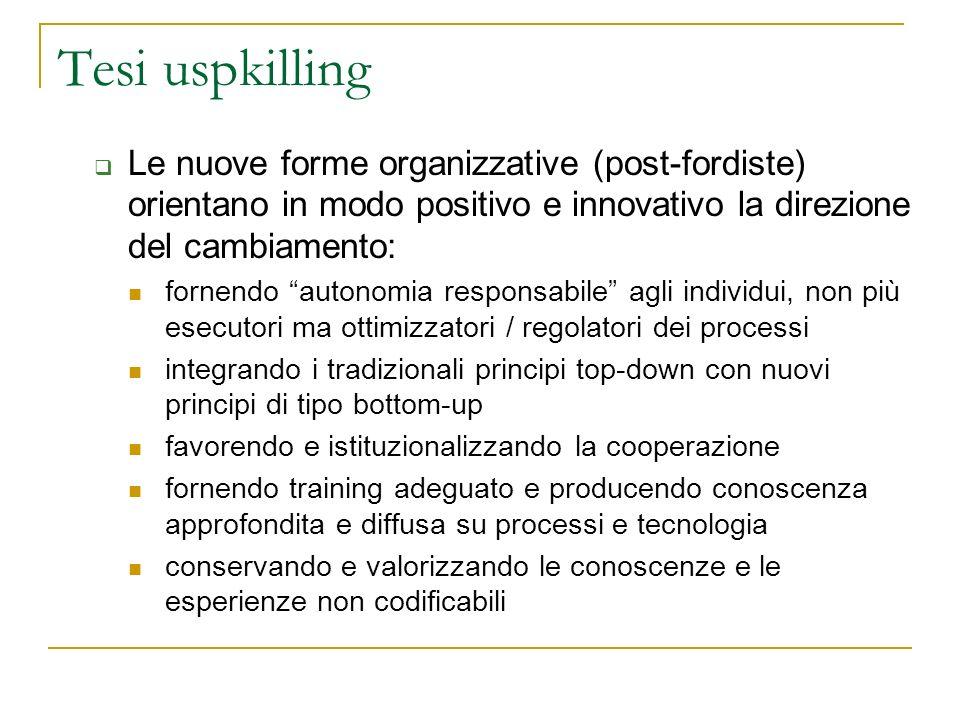 Tesi uspkilling Le nuove forme organizzative (post-fordiste) orientano in modo positivo e innovativo la direzione del cambiamento: fornendo autonomia