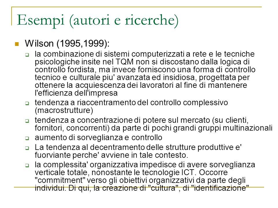 Esempi (autori e ricerche) Wilson (1995,1999): la combinazione di sistemi computerizzati a rete e le tecniche psicologiche insite nel TQM non si disco
