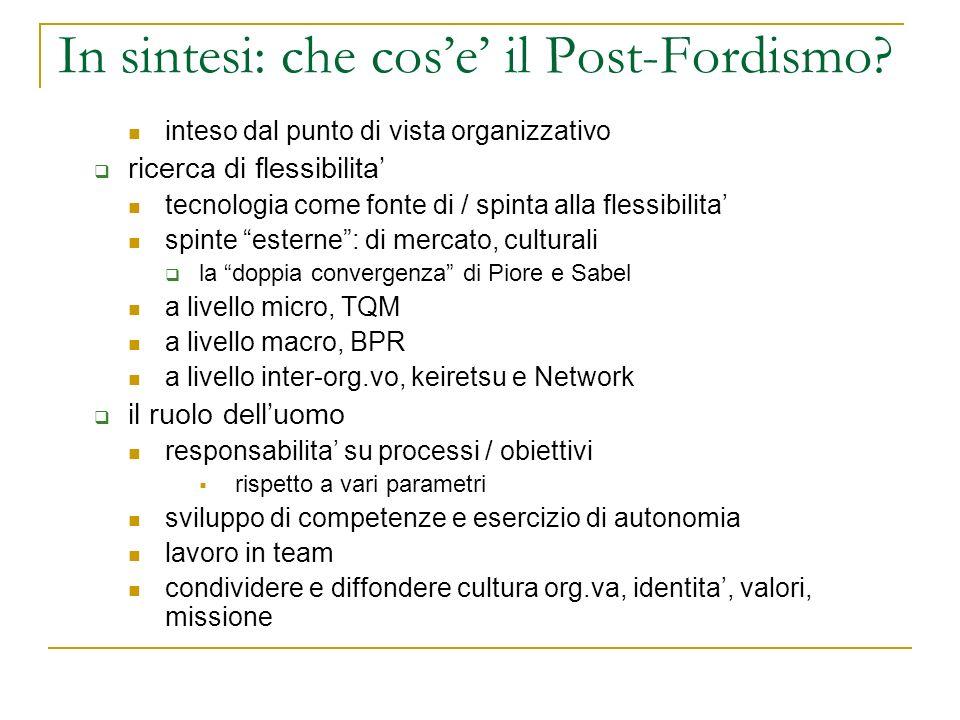 In sintesi: che cose il Post-Fordismo? inteso dal punto di vista organizzativo ricerca di flessibilita tecnologia come fonte di / spinta alla flessibi