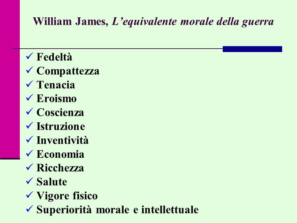William James, Lequivalente morale della guerra Fedeltà Compattezza Tenacia Eroismo Coscienza Istruzione Inventività Economia Ricchezza Salute Vigore