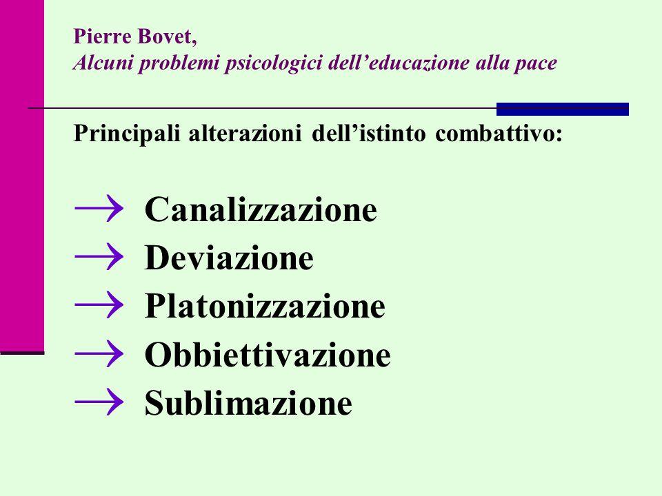 Pierre Bovet, Alcuni problemi psicologici delleducazione alla pace Principali alterazioni dellistinto combattivo: Canalizzazione Deviazione Platonizza