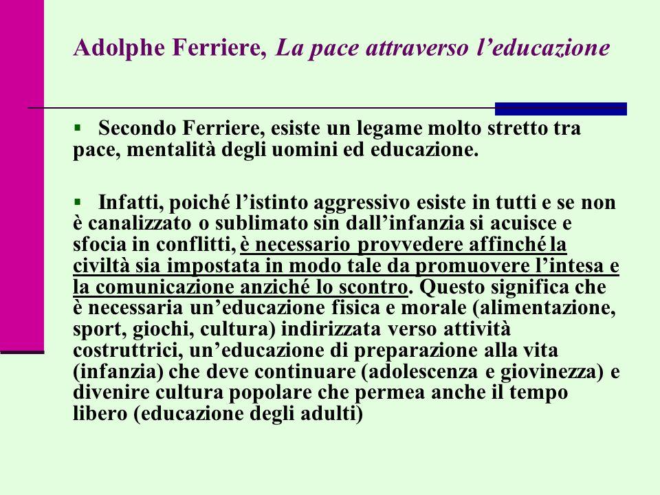 Adolphe Ferriere, La pace attraverso leducazione Secondo Ferriere, esiste un legame molto stretto tra pace, mentalità degli uomini ed educazione. Infa