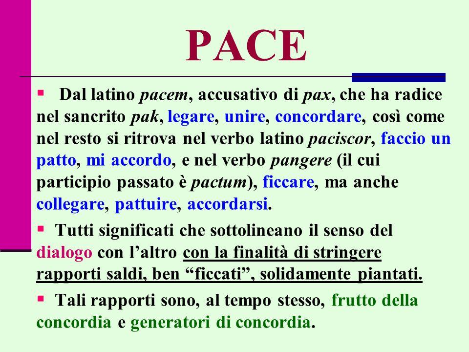 PACE Dal latino pacem, accusativo di pax, che ha radice nel sancrito pak, legare, unire, concordare, così come nel resto si ritrova nel verbo latino p