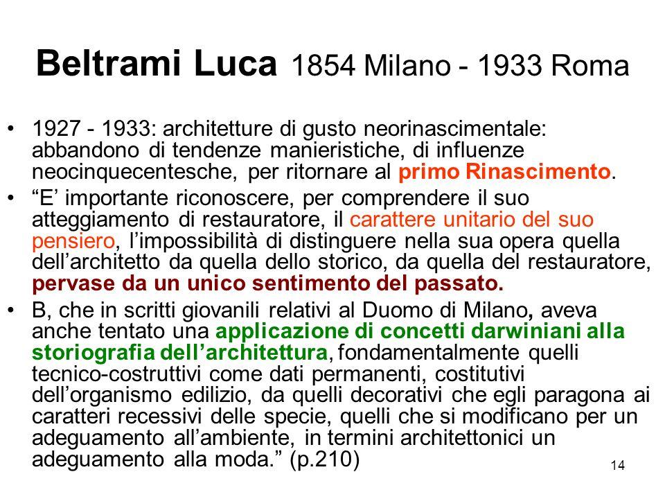 14 Beltrami Luca 1854 Milano - 1933 Roma 1927 - 1933: architetture di gusto neorinascimentale: abbandono di tendenze manieristiche, di influenze neoci