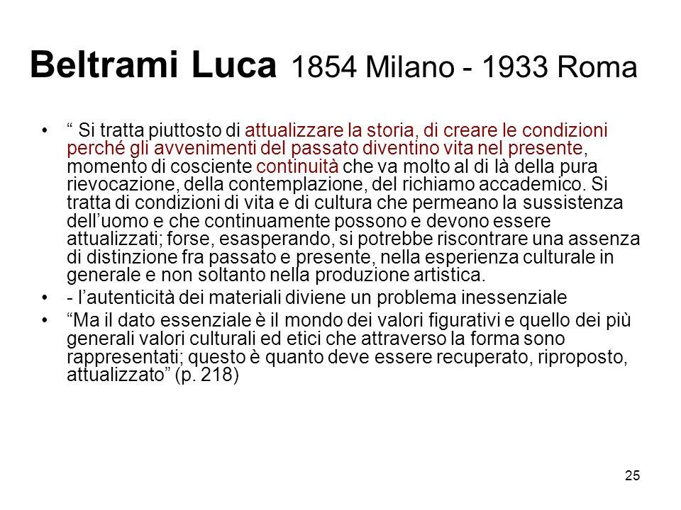 25 Beltrami Luca 1854 Milano - 1933 Roma Si tratta piuttosto di attualizzare la storia, di creare le condizioni perché gli avvenimenti del passato div
