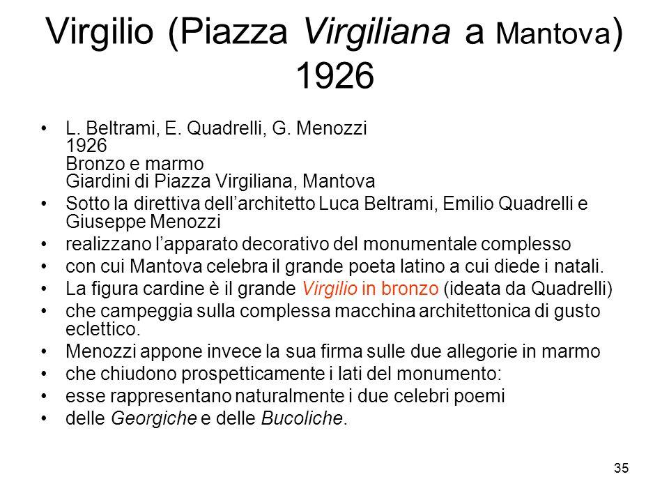35 Virgilio (Piazza Virgiliana a Mantova ) 1926 L. Beltrami, E. Quadrelli, G. Menozzi 1926 Bronzo e marmo Giardini di Piazza Virgiliana, Mantova Sotto