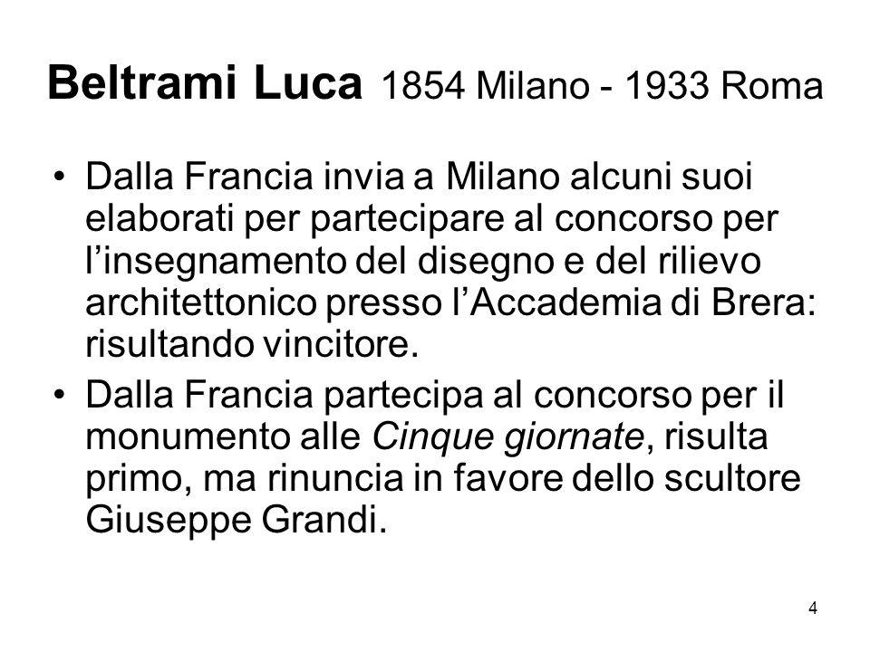 5 Beltrami Luca 1854 Milano - 1933 Roma Milano rientra a Milano per assumere linsegnamento a Brera, diviene assistente di Boito al Politecnico (che sostituisce quando questi è chiamato a Roma presso la Direzione generale di Antichità e Belle Arti).