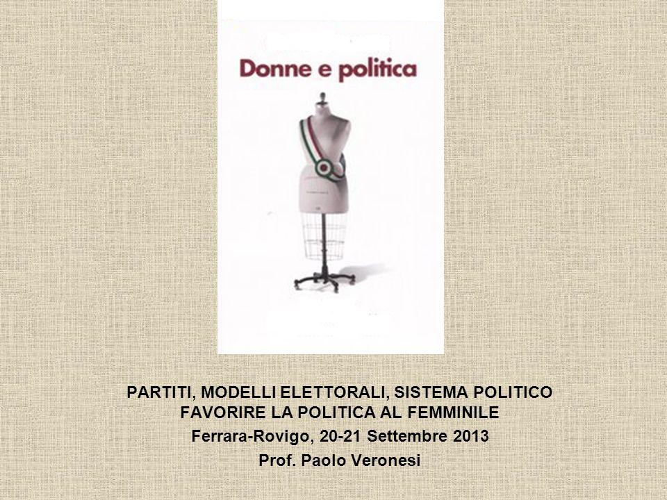 PARTITI, MODELLI ELETTORALI, SISTEMA POLITICO FAVORIRE LA POLITICA AL FEMMINILE Ferrara-Rovigo, 20-21 Settembre 2013 Prof. Paolo Veronesi