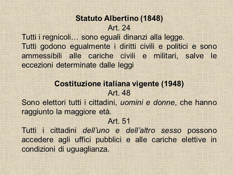 Statuto Albertino (1848) Art. 24 Tutti i regnicoli… sono eguali dinanzi alla legge. Tutti godono egualmente i diritti civili e politici e sono ammessi