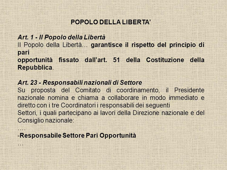 POPOLO DELLA LIBERTA Art. 1 - Il Popolo della Libertà Il Popolo della Libertà… garantisce il rispetto del principio di pari opportunità fissato dallar