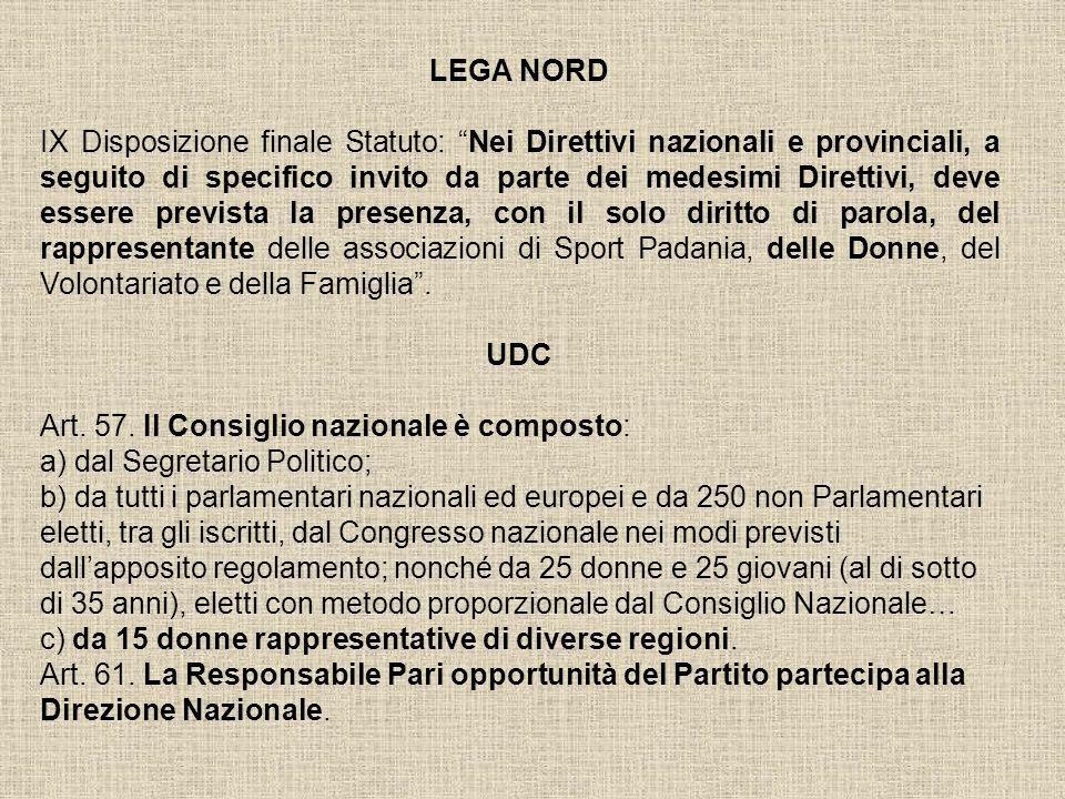 LEGA NORD IX Disposizione finale Statuto: Nei Direttivi nazionali e provinciali, a seguito di specifico invito da parte dei medesimi Direttivi, deve e
