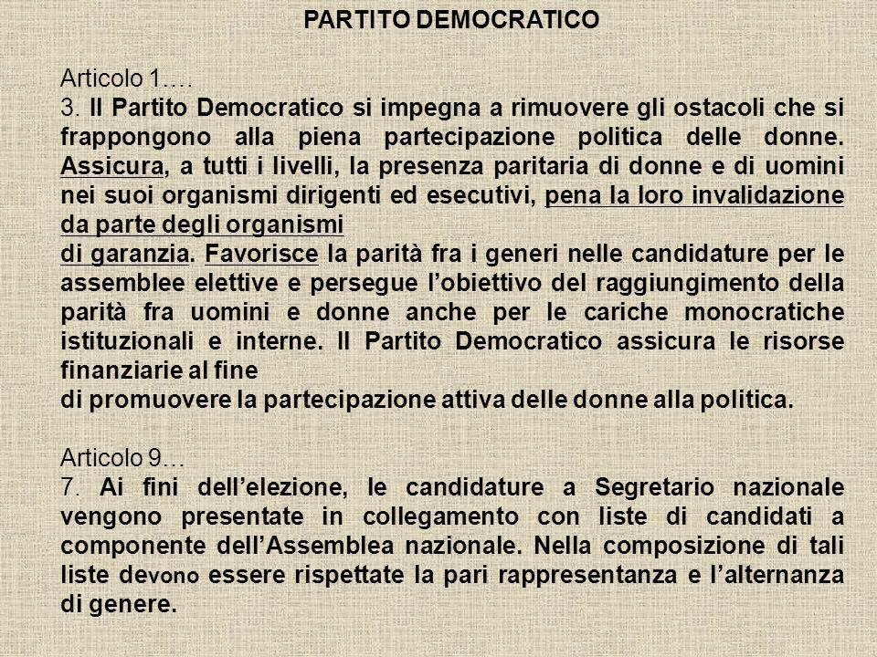 PARTITO DEMOCRATICO Articolo 1…. 3. Il Partito Democratico si impegna a rimuovere gli ostacoli che si frappongono alla piena partecipazione politica d
