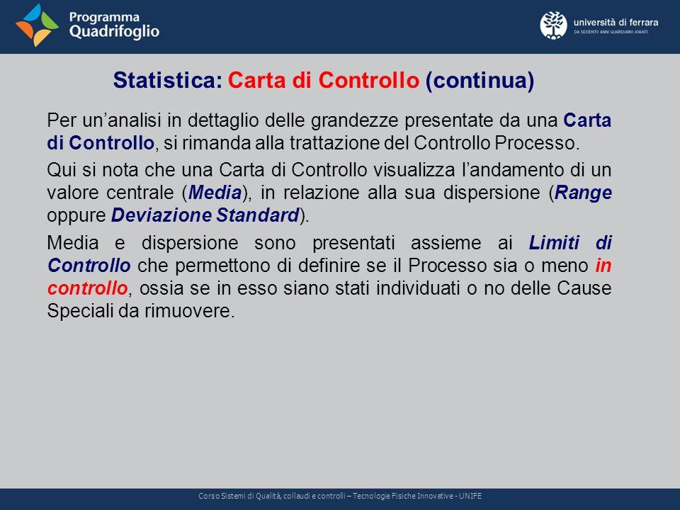 Statistica: Carta di Controllo (continua) Corso Sistemi di Qualità, collaudi e controlli – Tecnologie Fisiche Innovative - UNIFE Per unanalisi in dett