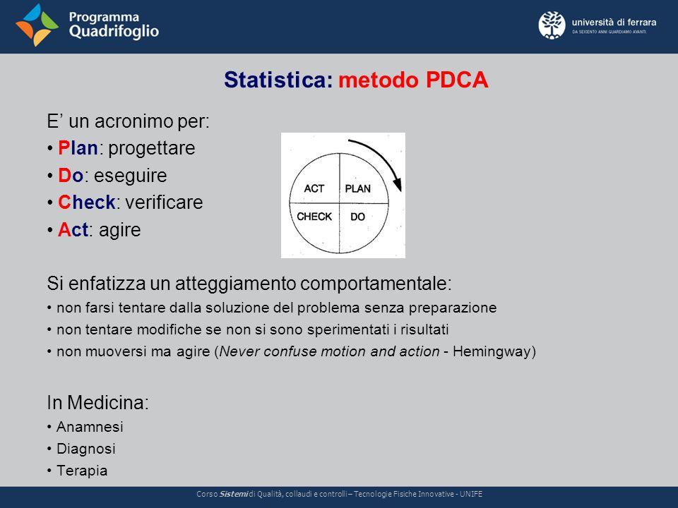 Statistica: metodo PDCA Corso Sistemi di Qualità, collaudi e controlli – Tecnologie Fisiche Innovative - UNIFE E un acronimo per: Plan: progettare Do: