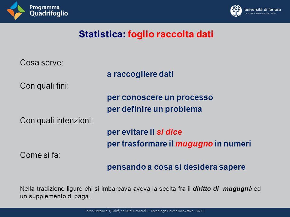 Statistica: foglio raccolta dati Corso Sistemi di Qualità, collaudi e controlli – Tecnologie Fisiche Innovative - UNIFE Cosa serve: a raccogliere dati