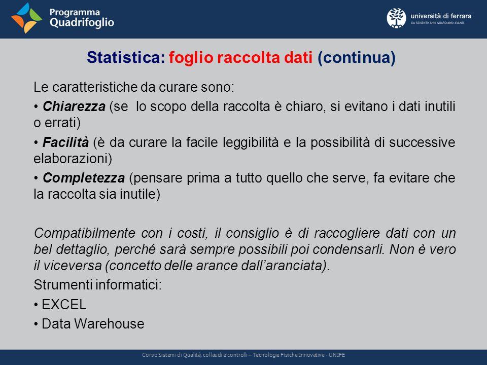 Statistica: foglio raccolta dati (continua) Corso Sistemi di Qualità, collaudi e controlli – Tecnologie Fisiche Innovative - UNIFE Le caratteristiche