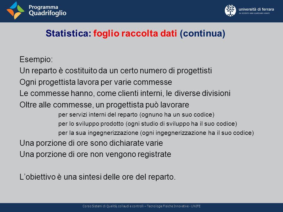 Statistica: foglio raccolta dati (continua) Corso Sistemi di Qualità, collaudi e controlli – Tecnologie Fisiche Innovative - UNIFE Esempio: Un reparto