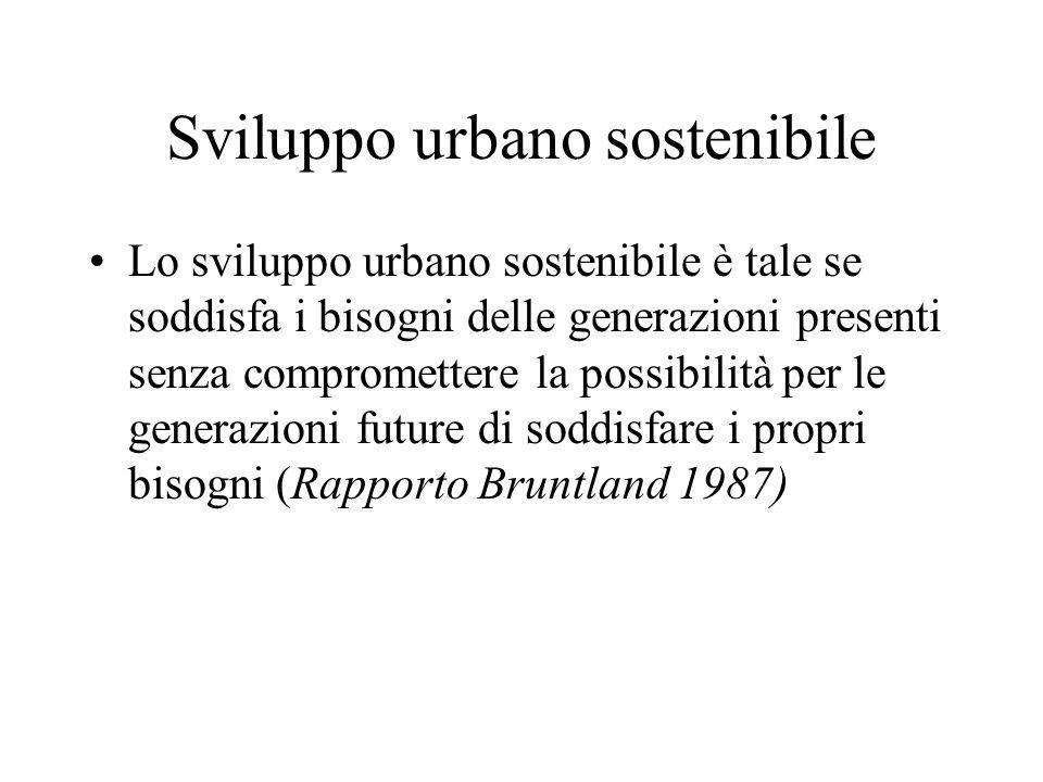 Sviluppo urbano sostenibile Lo sviluppo urbano sostenibile è tale se soddisfa i bisogni delle generazioni presenti senza compromettere la possibilità