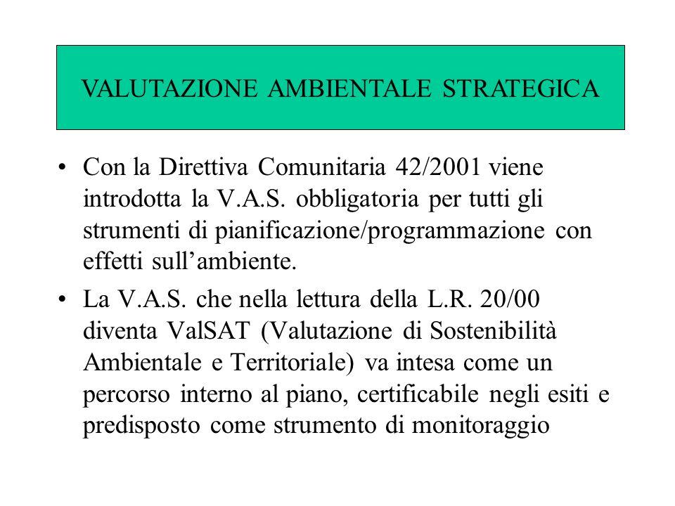 Con la Direttiva Comunitaria 42/2001 viene introdotta la V.A.S. obbligatoria per tutti gli strumenti di pianificazione/programmazione con effetti sull