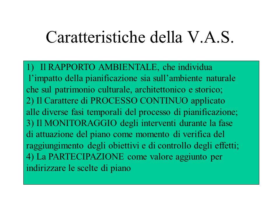 Caratteristiche della V.A.S. 1)Il RAPPORTO AMBIENTALE, che individua limpatto della pianificazione sia sullambiente naturale che sul patrimonio cultur