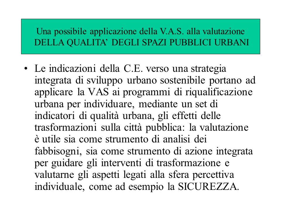 Le indicazioni della C.E. verso una strategia integrata di sviluppo urbano sostenibile portano ad applicare la VAS ai programmi di riqualificazione ur