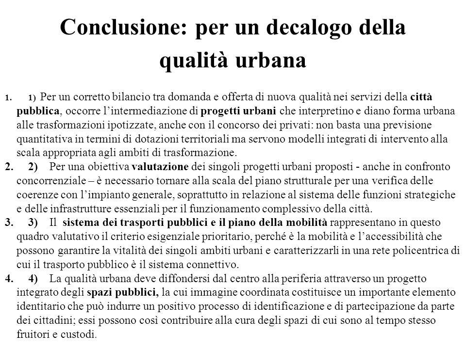 Conclusione: per un decalogo della qualità urbana 1.1) Per un corretto bilancio tra domanda e offerta di nuova qualità nei servizi della città pubblic