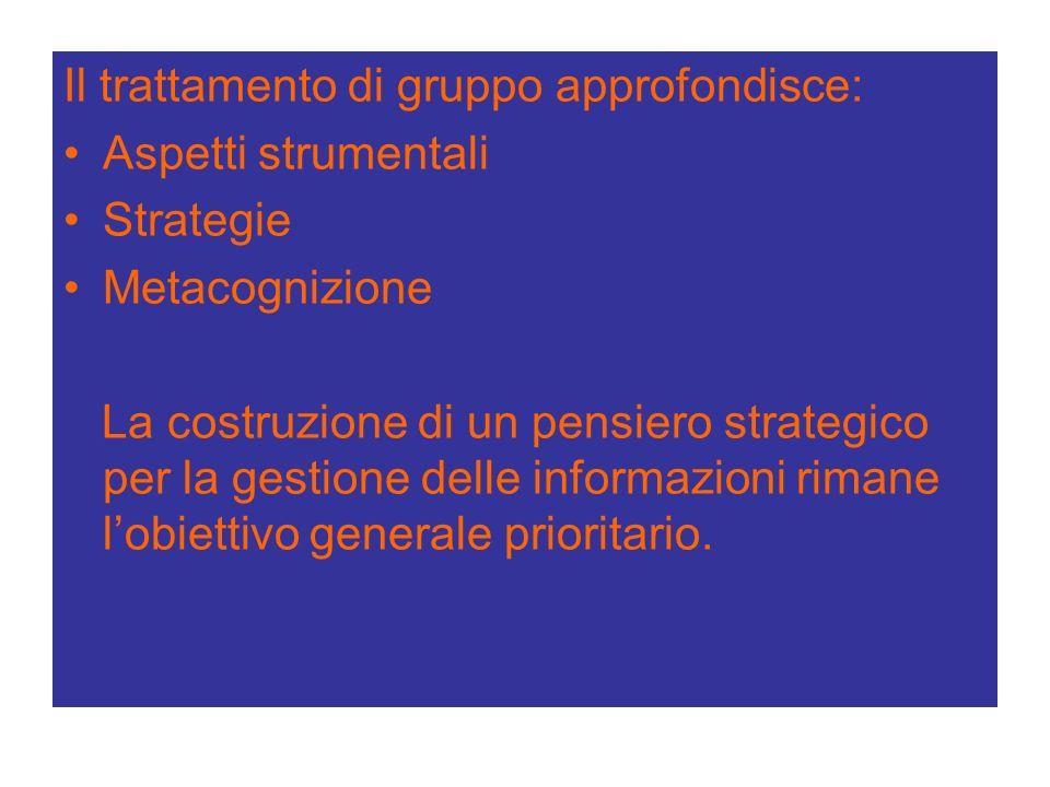 Il trattamento di gruppo approfondisce: Aspetti strumentali Strategie Metacognizione La costruzione di un pensiero strategico per la gestione delle informazioni rimane lobiettivo generale prioritario.