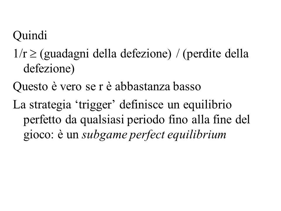 Quindi 1/r (guadagni della defezione) / (perdite della defezione) Questo è vero se r è abbastanza basso La strategia trigger definisce un equilibrio p