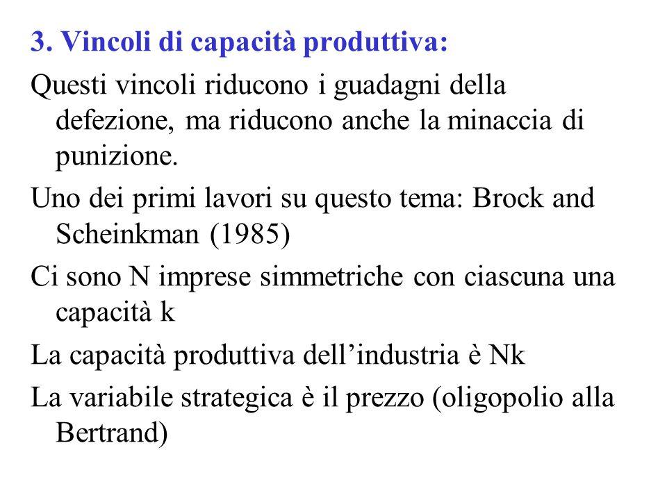 3. Vincoli di capacità produttiva: Questi vincoli riducono i guadagni della defezione, ma riducono anche la minaccia di punizione. Uno dei primi lavor