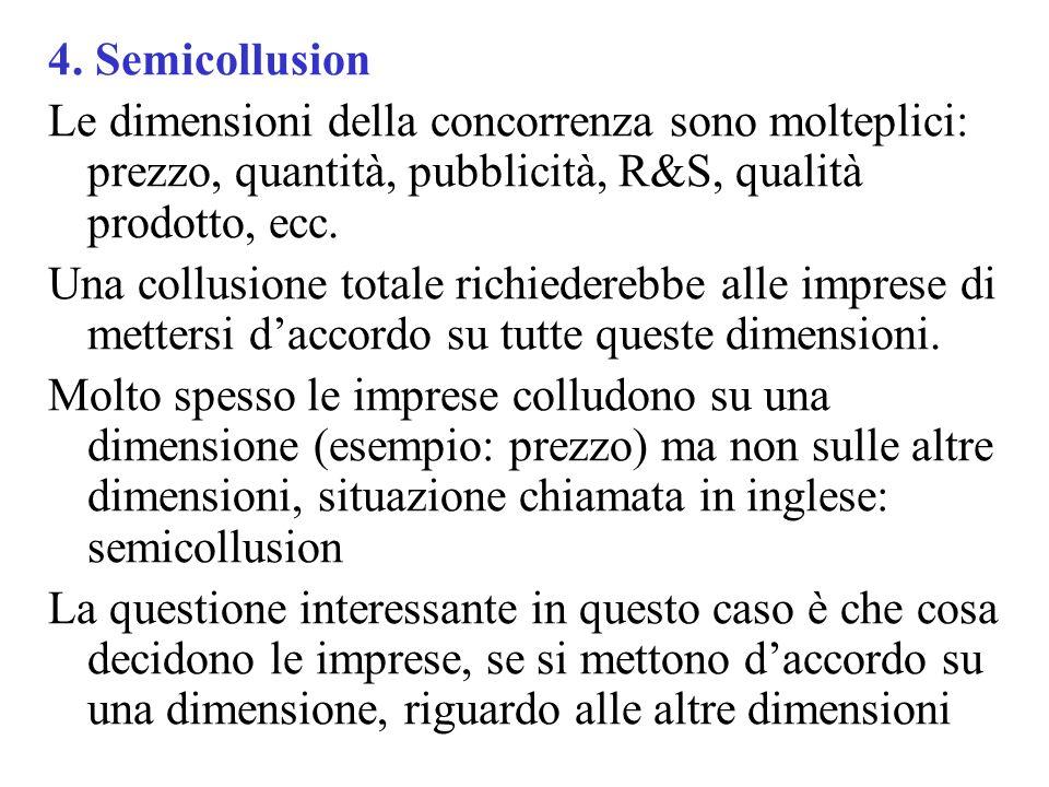 4. Semicollusion Le dimensioni della concorrenza sono molteplici: prezzo, quantità, pubblicità, R&S, qualità prodotto, ecc. Una collusione totale rich