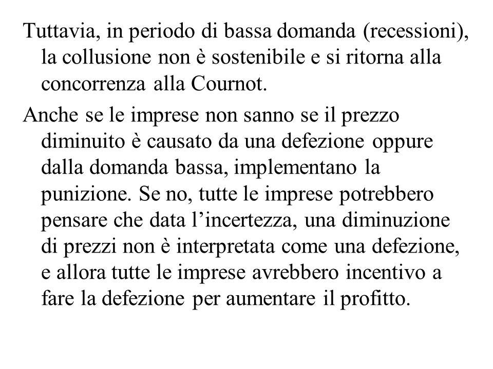 Tuttavia, in periodo di bassa domanda (recessioni), la collusione non è sostenibile e si ritorna alla concorrenza alla Cournot. Anche se le imprese no