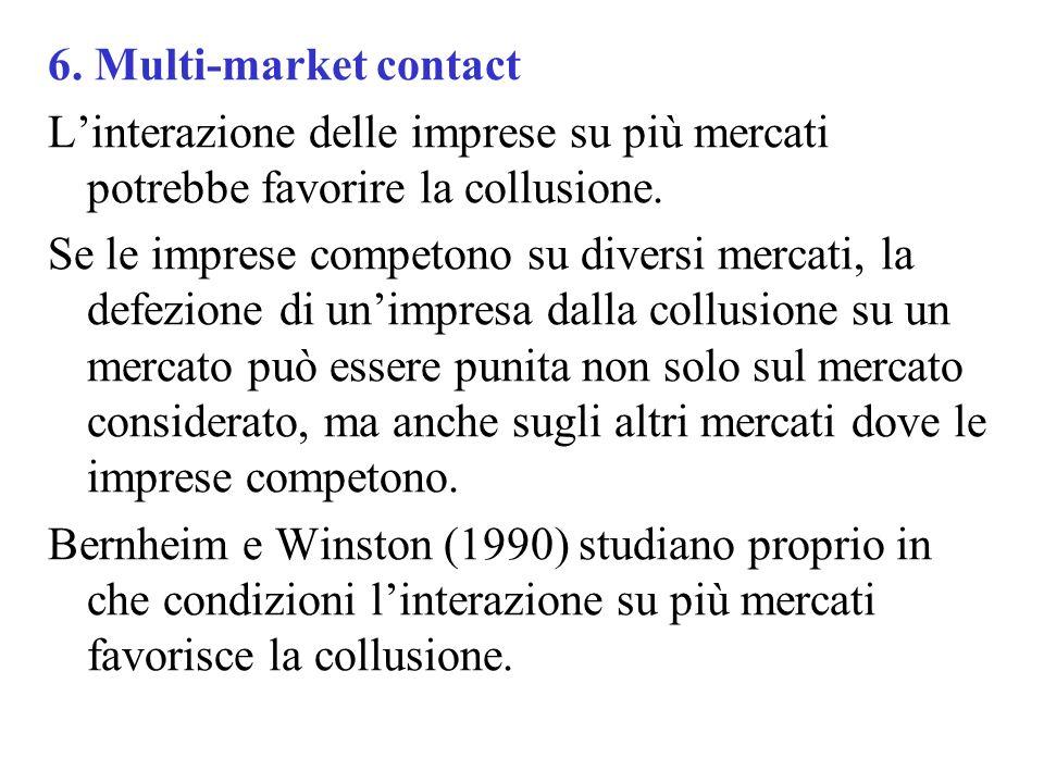 6. Multi-market contact Linterazione delle imprese su più mercati potrebbe favorire la collusione. Se le imprese competono su diversi mercati, la defe