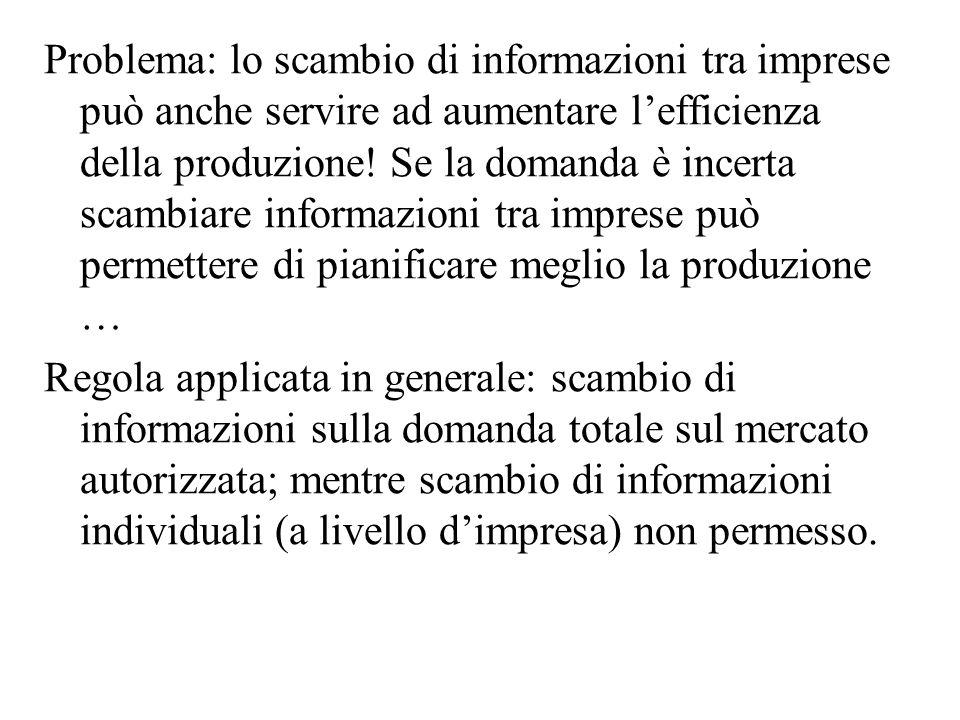Problema: lo scambio di informazioni tra imprese può anche servire ad aumentare lefficienza della produzione! Se la domanda è incerta scambiare inform