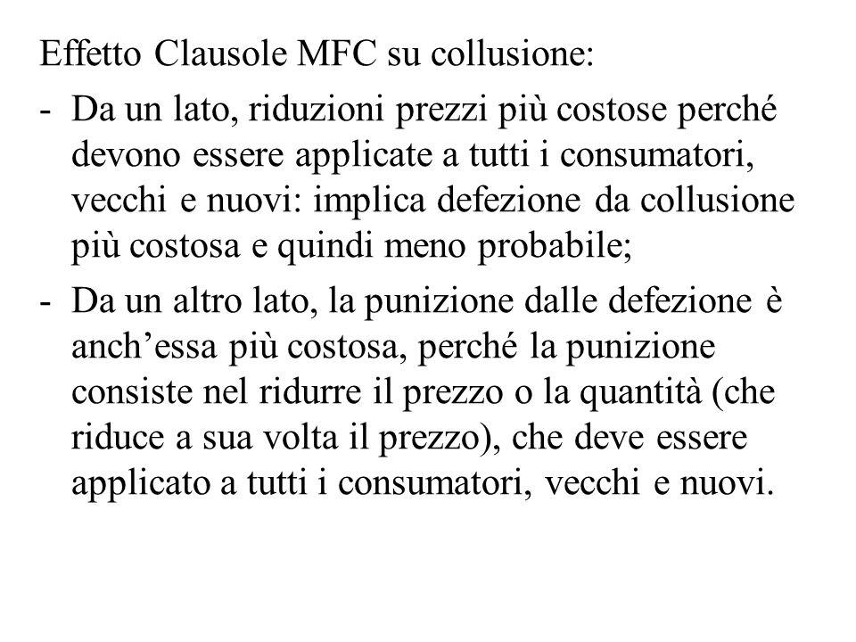 Effetto Clausole MFC su collusione: -Da un lato, riduzioni prezzi più costose perché devono essere applicate a tutti i consumatori, vecchi e nuovi: im