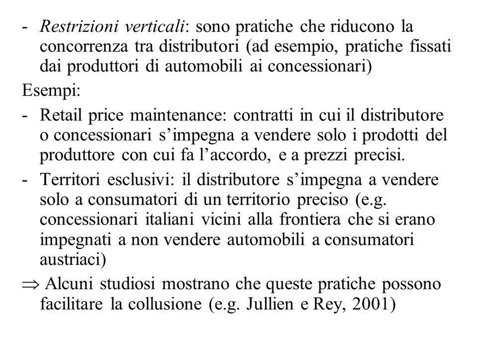 -Restrizioni verticali: sono pratiche che riducono la concorrenza tra distributori (ad esempio, pratiche fissati dai produttori di automobili ai conce