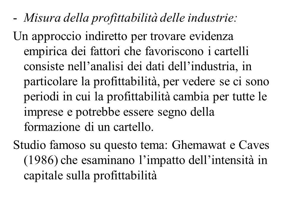 -Misura della profittabilità delle industrie: Un approccio indiretto per trovare evidenza empirica dei fattori che favoriscono i cartelli consiste nel