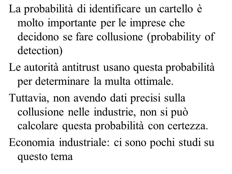 La probabilità di identificare un cartello è molto importante per le imprese che decidono se fare collusione (probability of detection) Le autorità an
