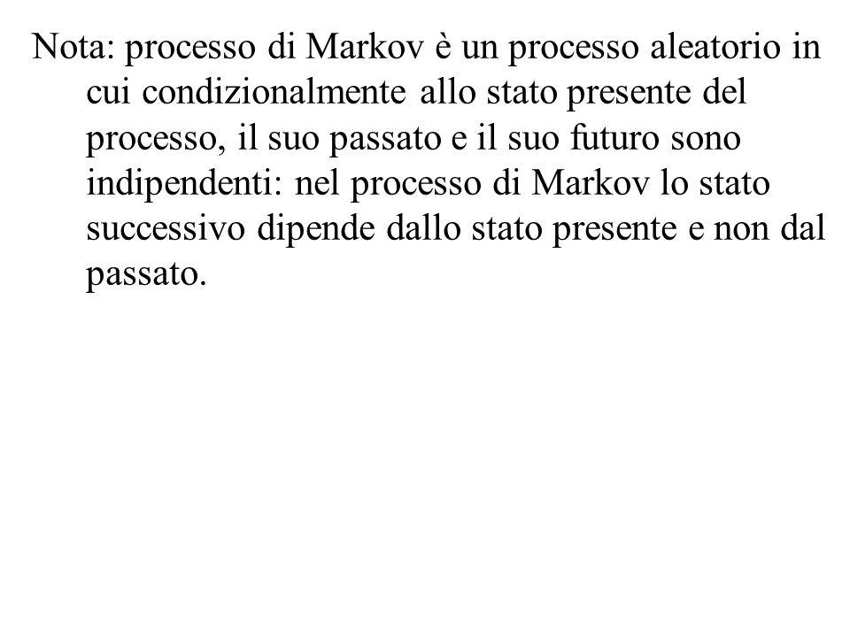 Nota: processo di Markov è un processo aleatorio in cui condizionalmente allo stato presente del processo, il suo passato e il suo futuro sono indipen
