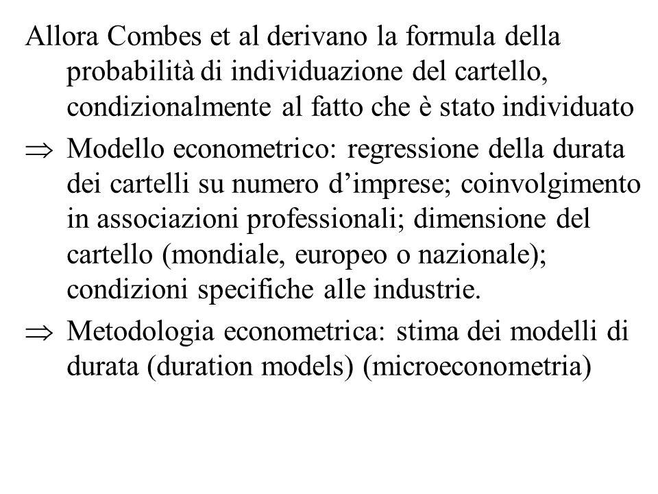 Allora Combes et al derivano la formula della probabilità di individuazione del cartello, condizionalmente al fatto che è stato individuato Modello ec