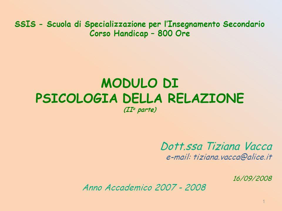SSIS - Scuola di Specializzazione per lInsegnamento Secondario Corso Handicap – 800 Ore MODULO DI PSICOLOGIA DELLA RELAZIONE (II a parte) Dott.ssa Tiziana Vacca e-mail: tiziana.vacca@alice.it 16/09/2008 Anno Accademico 2007 - 2008 1