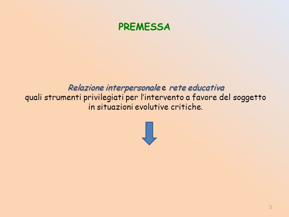 3 Relazione interpersonale rete educativa Relazione interpersonale e rete educativa quali strumenti privilegiati per lintervento a favore del soggetto in situazioni evolutive critiche.