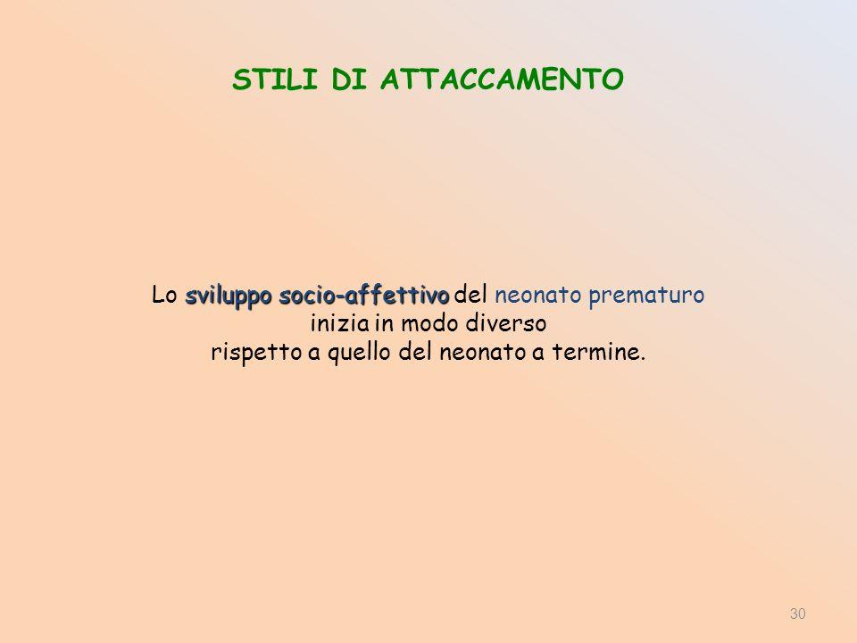STILI DI ATTACCAMENTO sviluppo socio-affettivo Lo sviluppo socio-affettivo del neonato prematuro inizia in modo diverso rispetto a quello del neonato