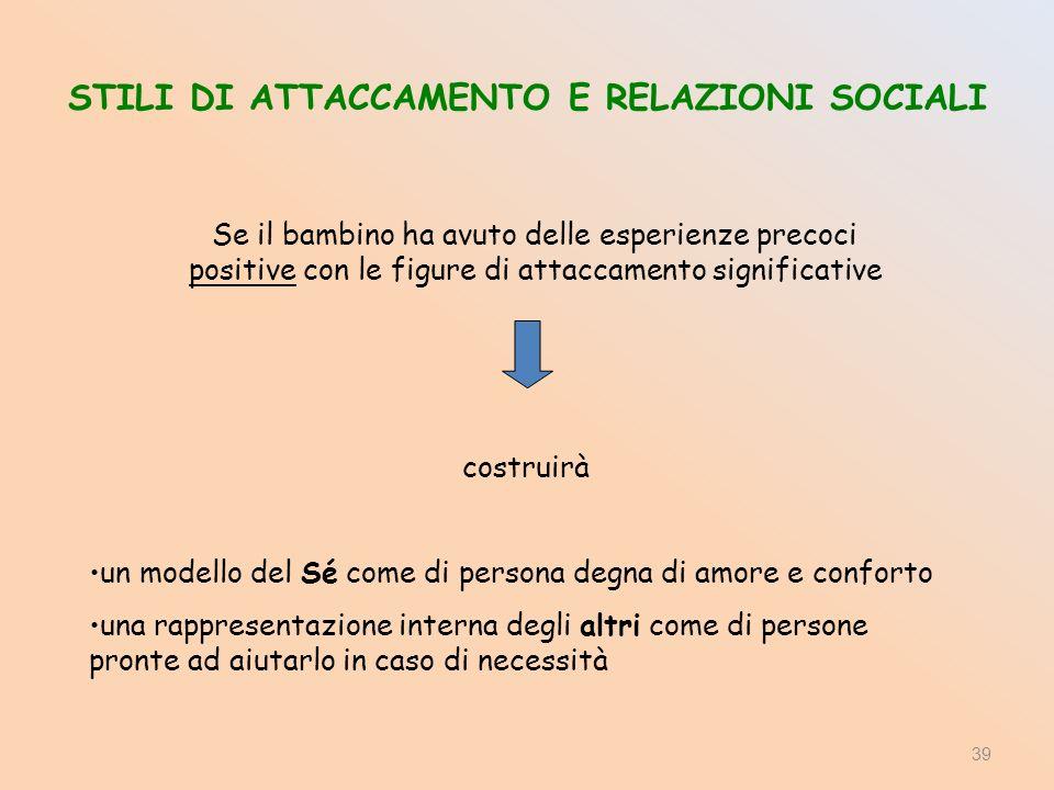 STILI DI ATTACCAMENTO E RELAZIONI SOCIALI Se il bambino ha avuto delle esperienze precoci positive con le figure di attaccamento significative costrui