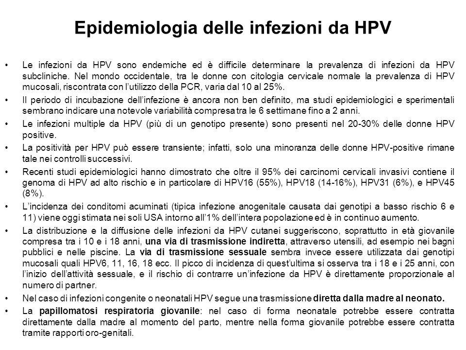 Epidemiologia delle infezioni da HPV Le infezioni da HPV sono endemiche ed è difficile determinare la prevalenza di infezioni da HPV subcliniche. Nel