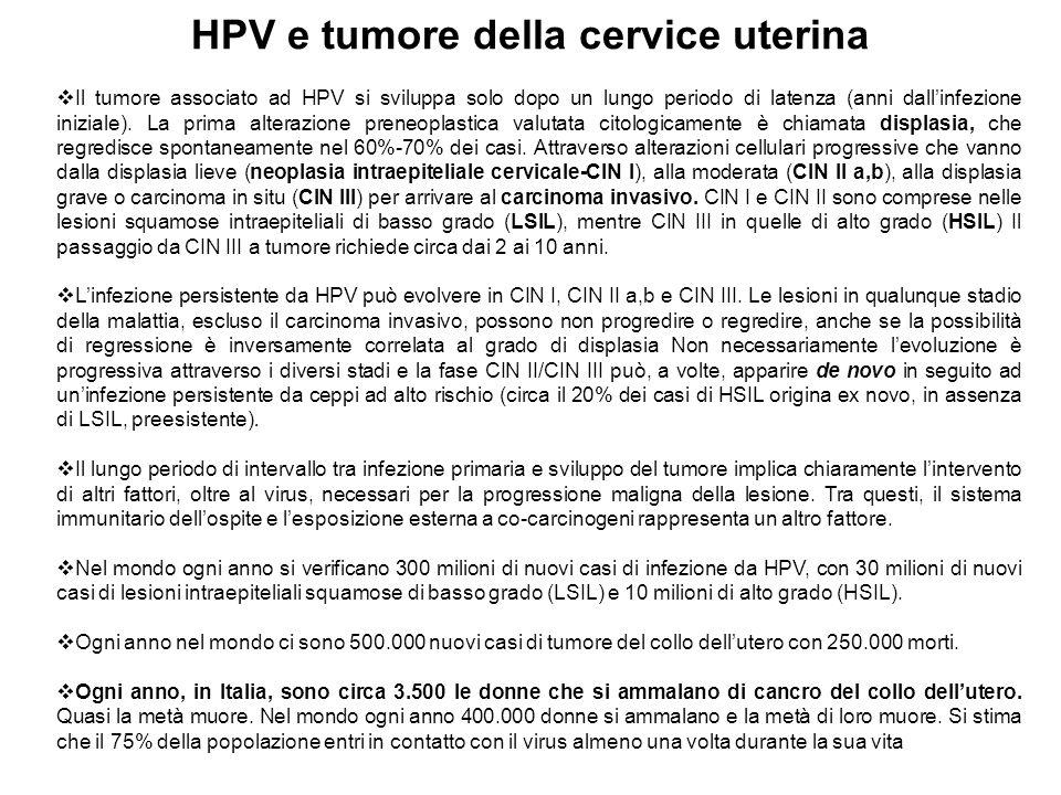 HPV e tumore della cervice uterina Il tumore associato ad HPV si sviluppa solo dopo un lungo periodo di latenza (anni dallinfezione iniziale). La prim