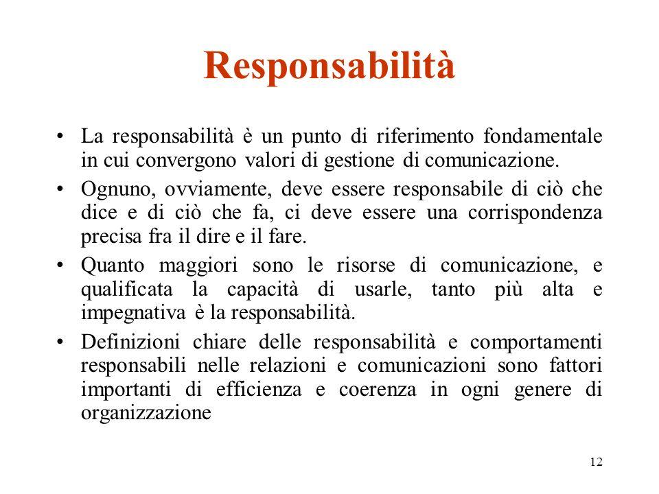 12 Responsabilità La responsabilità è un punto di riferimento fondamentale in cui convergono valori di gestione di comunicazione.