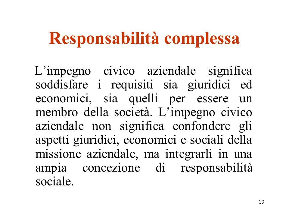 13 Responsabilità complessa Limpegno civico aziendale significa soddisfare i requisiti sia giuridici ed economici, sia quelli per essere un membro della società.