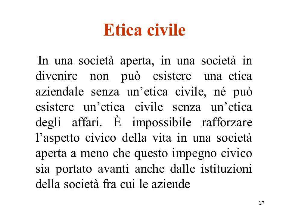 17 Etica civile In una società aperta, in una società in divenire non può esistere una etica aziendale senza unetica civile, né può esistere unetica civile senza unetica degli affari.