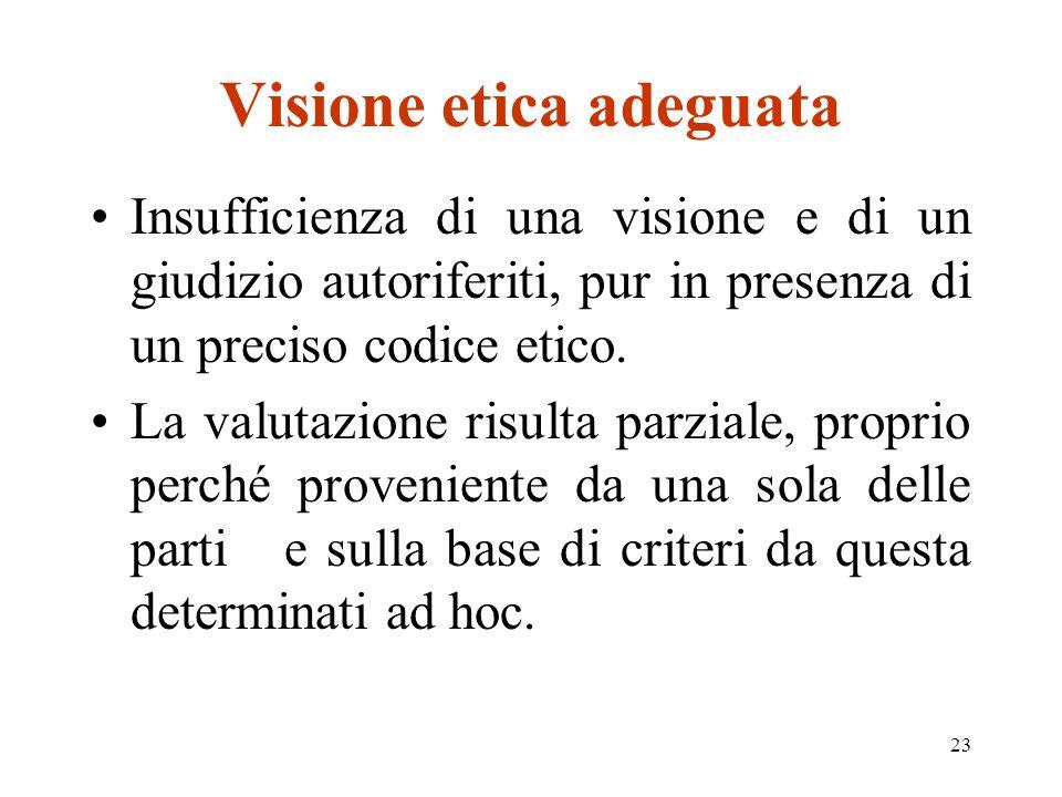 23 Visione etica adeguata Insufficienza di una visione e di un giudizio autoriferiti, pur in presenza di un preciso codice etico.