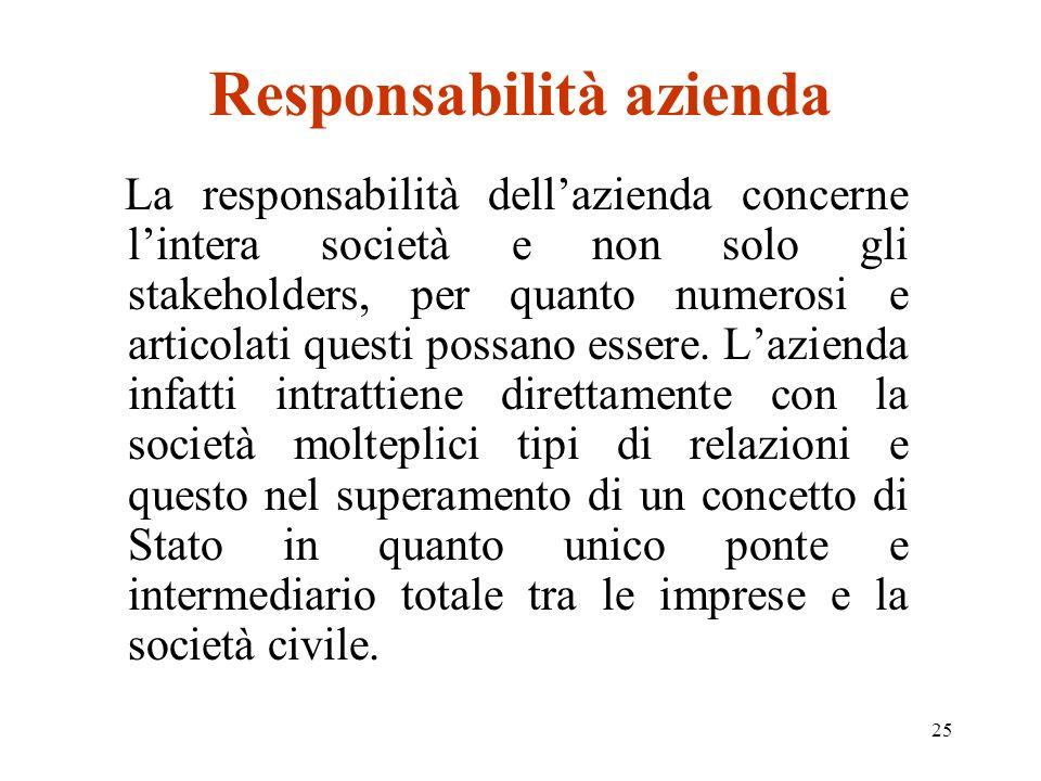 25 Responsabilità azienda La responsabilità dellazienda concerne lintera società e non solo gli stakeholders, per quanto numerosi e articolati questi